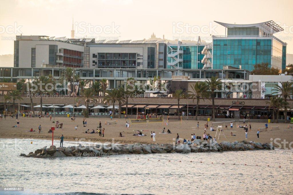 Barceloneta beach in the evening, Barcelona, Spain stock photo