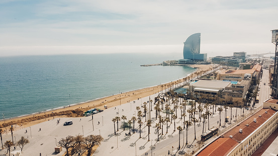 Barceloneta Beach in Barcelona, Spain.