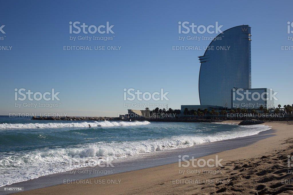 Barceloneta view stock photo