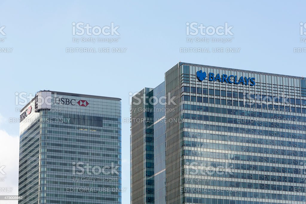 Barclays and HSBC headquarters in London stock photo
