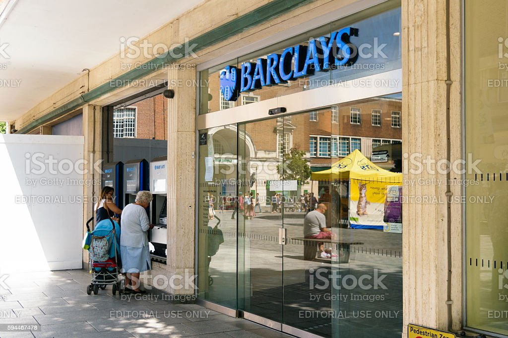 Barclays ATM users stock photo