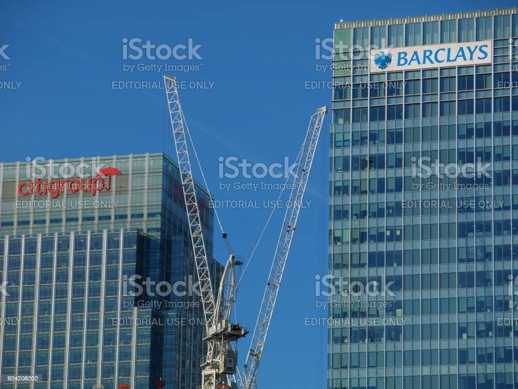 Barclays Bank and Citigroup offices - London UK with Construction Crane stock photo