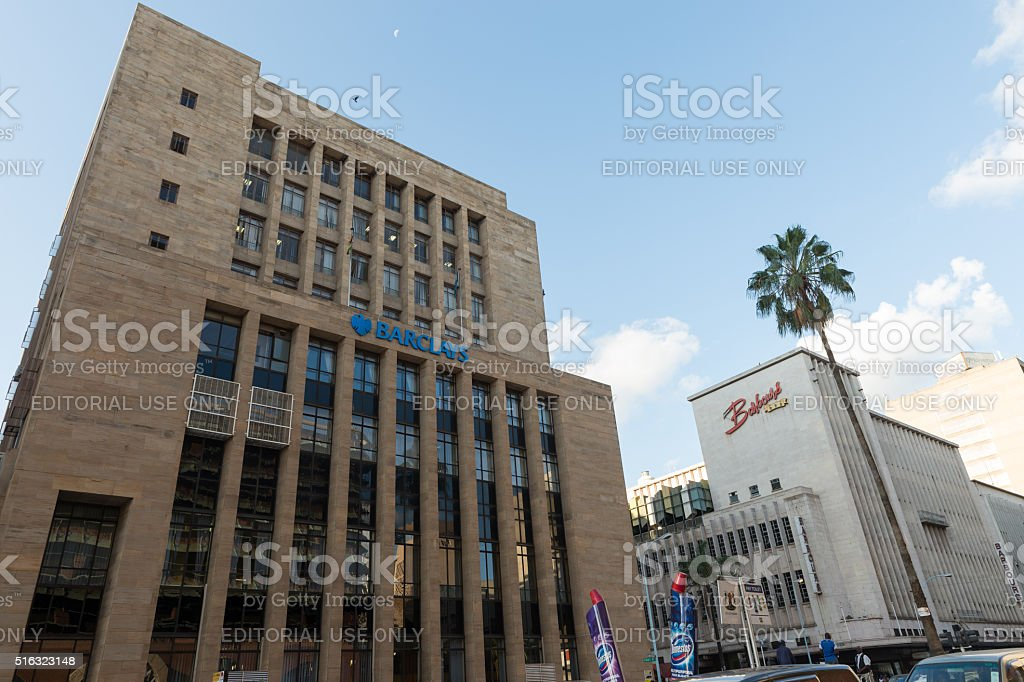 Barclays bank building in downtown Harare, Zimbabwe stock photo