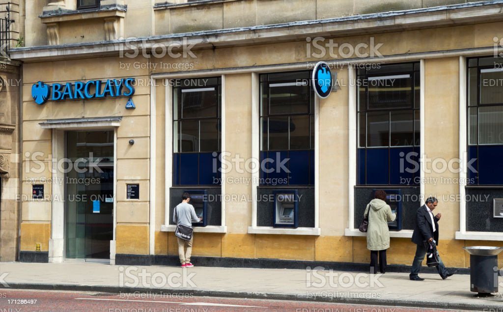 Barclays Bank with ATMs in use stock photo