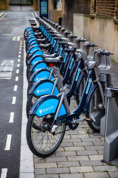 Barclays Cycle Hire  Boris Bikes at docking station in London UK stock photo