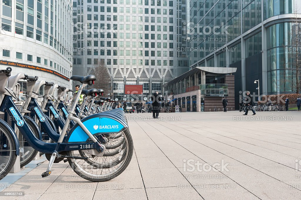 Barclays Cycle Hire in Canary Wharf. stock photo