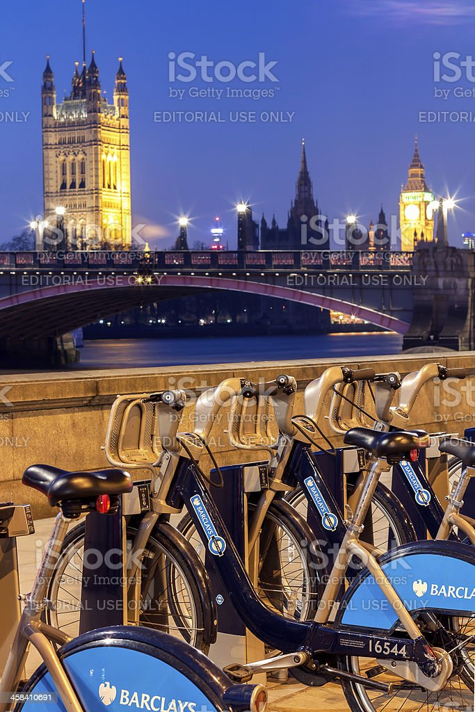 Barclays cycle hire point stock photo