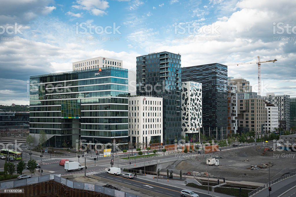 Barcode Buildings in Oslo, Norway stock photo