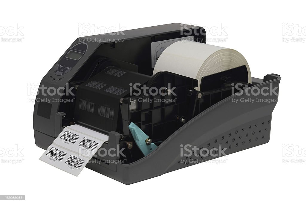 Barcode label printer isolated over white background stock photo
