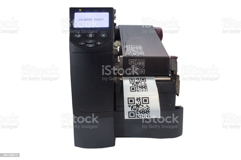 barcode label printer on a white background royalty-free stock photo
