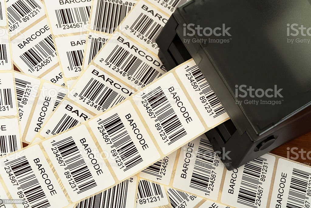Barcode label printer stock photo