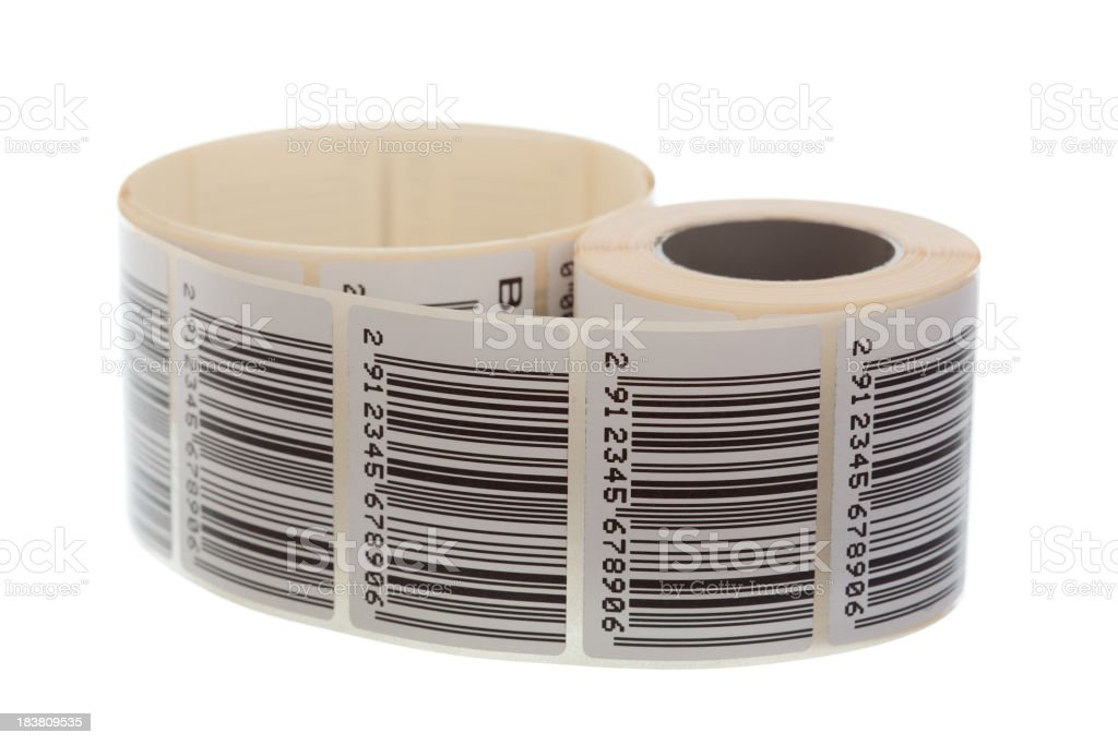 Barcode label ribbon stock photo