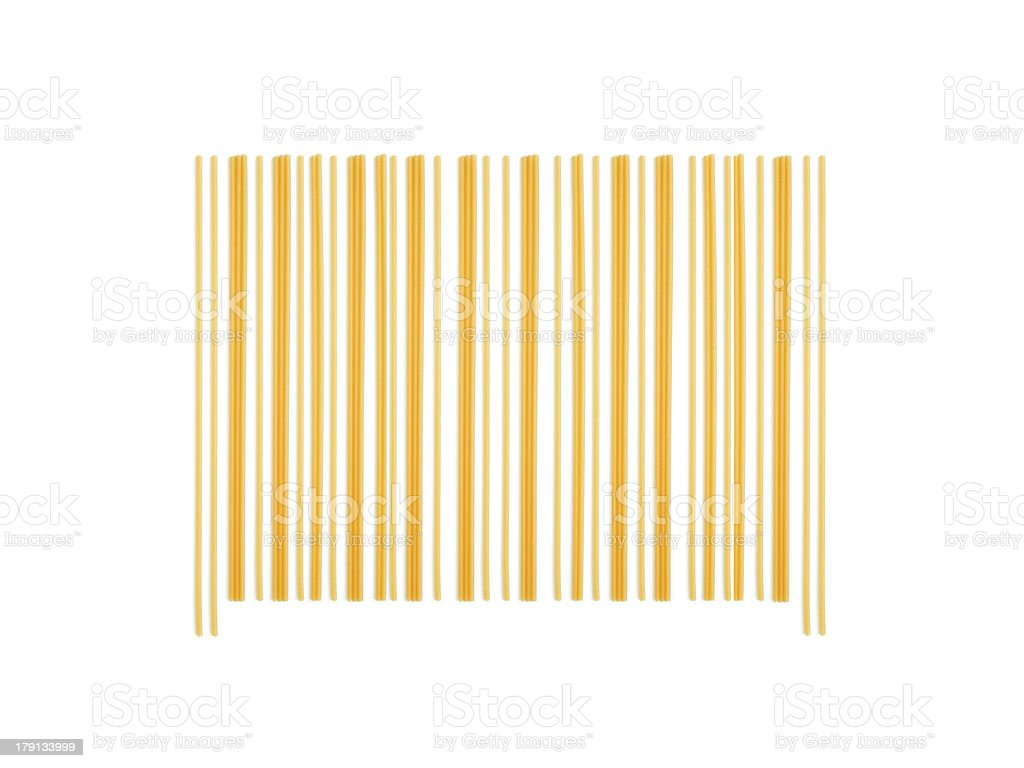 barcode made with italian spaghetti royalty-free stock photo