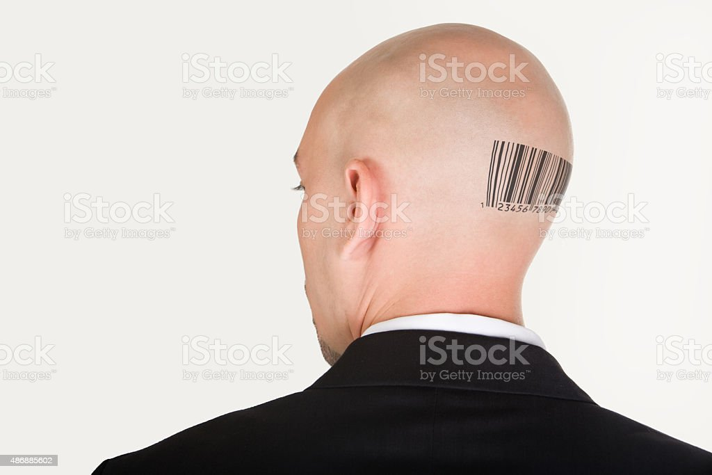 Barcode on back stock photo