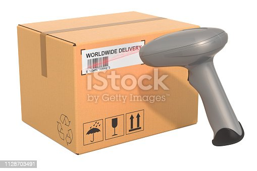92884259 istock photo Barcode reader scanning bar code from parcel, 3D rendering isolated on white background 1128703491