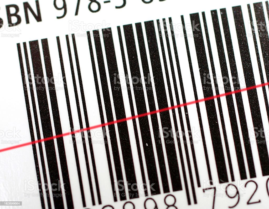 Barcode with laser scanner stock photo