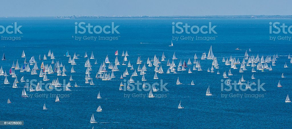 Barcolana, Large Number of Sailing Boats in Adriatic Sea stock photo