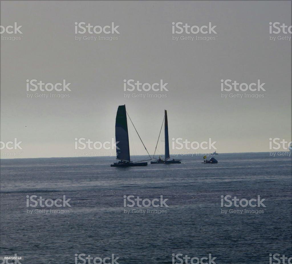 Barcos en el mar stock photo