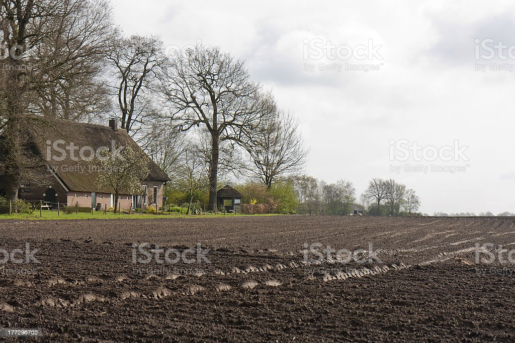 Bare farmland with farmhouse in the Netherlands royalty-free stock photo