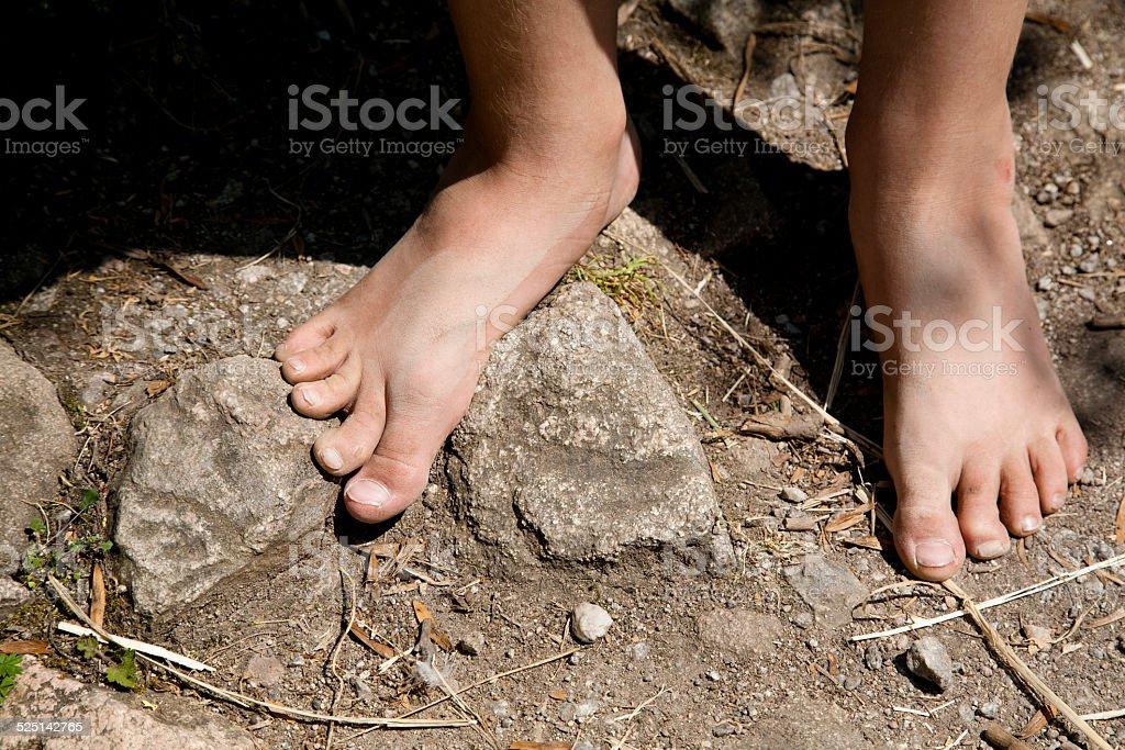 Bare feet off a boy stok fotoğrafı