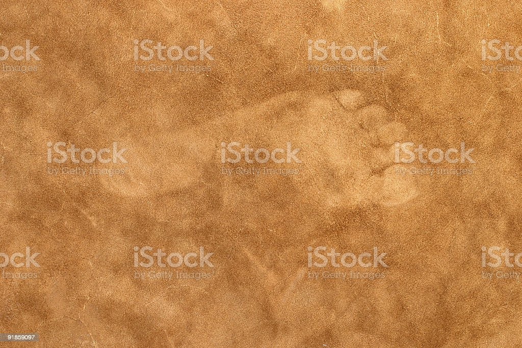 Bare Footprint on Leather royalty-free stock photo