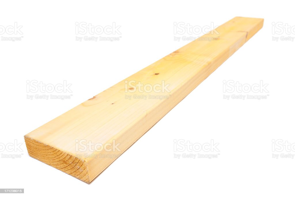 Bare wooden plank against white background royalty-free stock photo