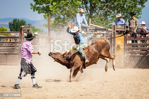 Cowboy riding a raging Bull during Bareback Bull Riding Competition Event in Rodeo Arena. Rodeo clowns standing by, watching and trying to protect the cowboy. A group of cowboys watching the action in the background. Rodeo Bull Riding Competition Event, Utah, USA