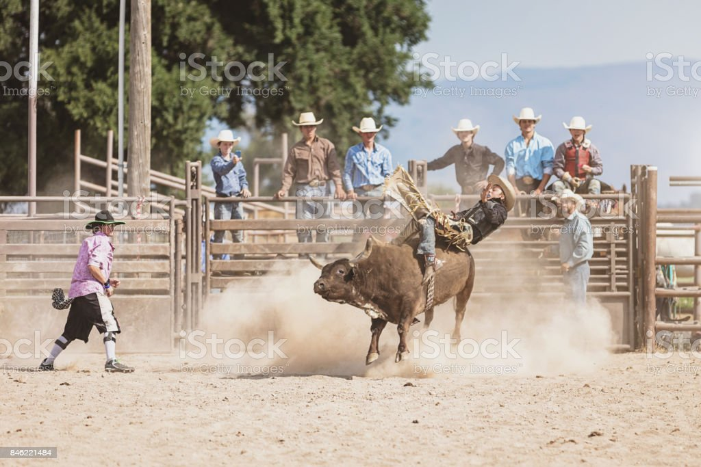 Bareback Riding Cowboy Falling From Raging Bucking Bull stock photo