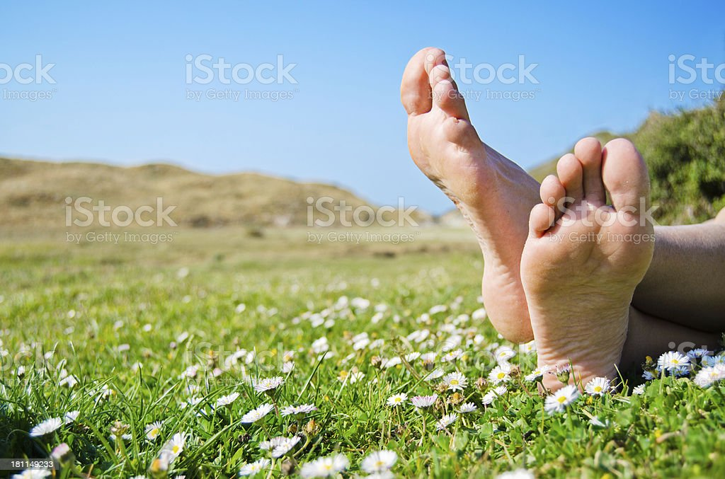 Barefeet in the grass. stock photo