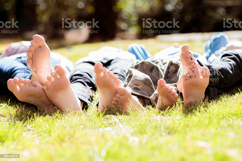 Barefeet in the Grass stock photo
