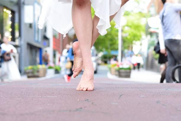 Barefoot ballet dancer stock photo