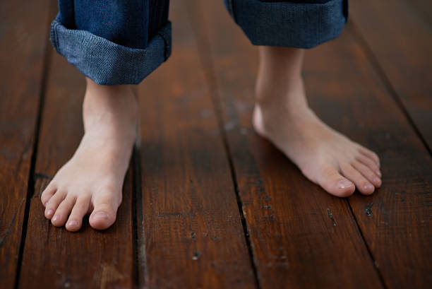 barefoot boy with cheeks of tan