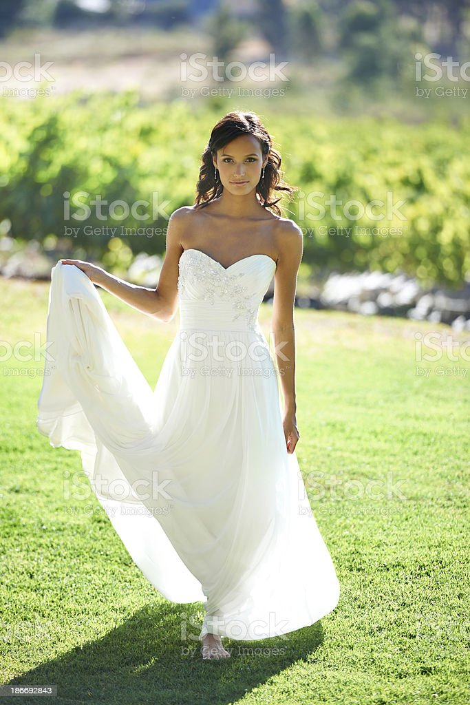 Barefoot bride royalty-free stock photo