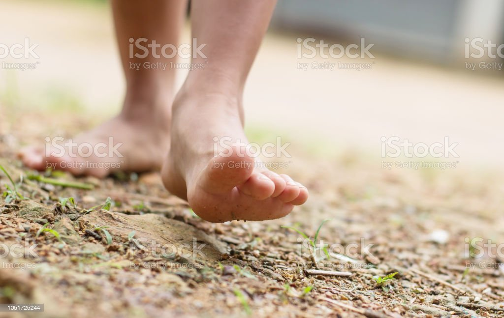 Barefoot child walk alone in nature, explore the forest,outdoor hiking activities. stock photo