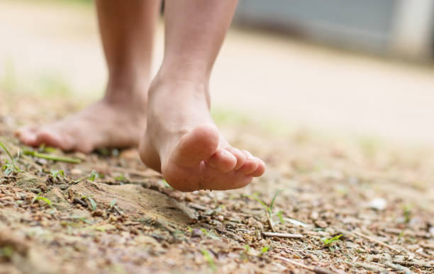 barefoot child walk alone in nature, explore the forest,outdoor hiking activities. - scalzo foto e immagini stock