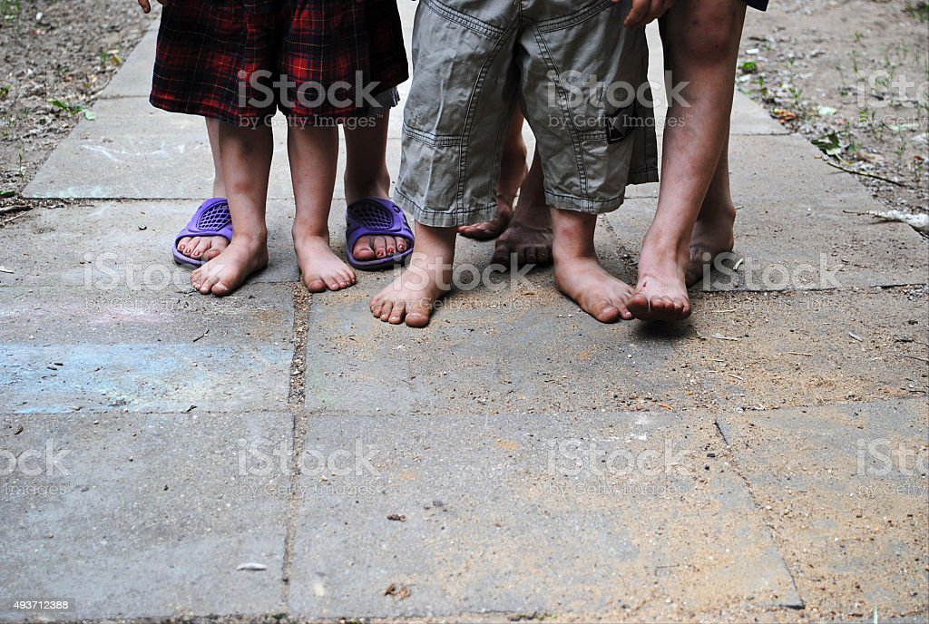 Barefoot children. stock photo