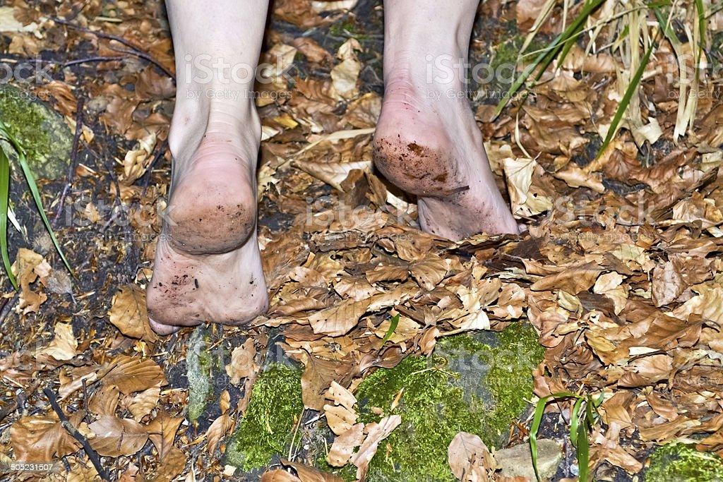 Barefoot hiker B stock photo