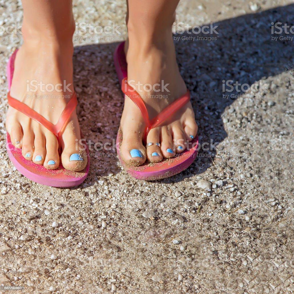 Barefoot in Flip Flops. stock photo