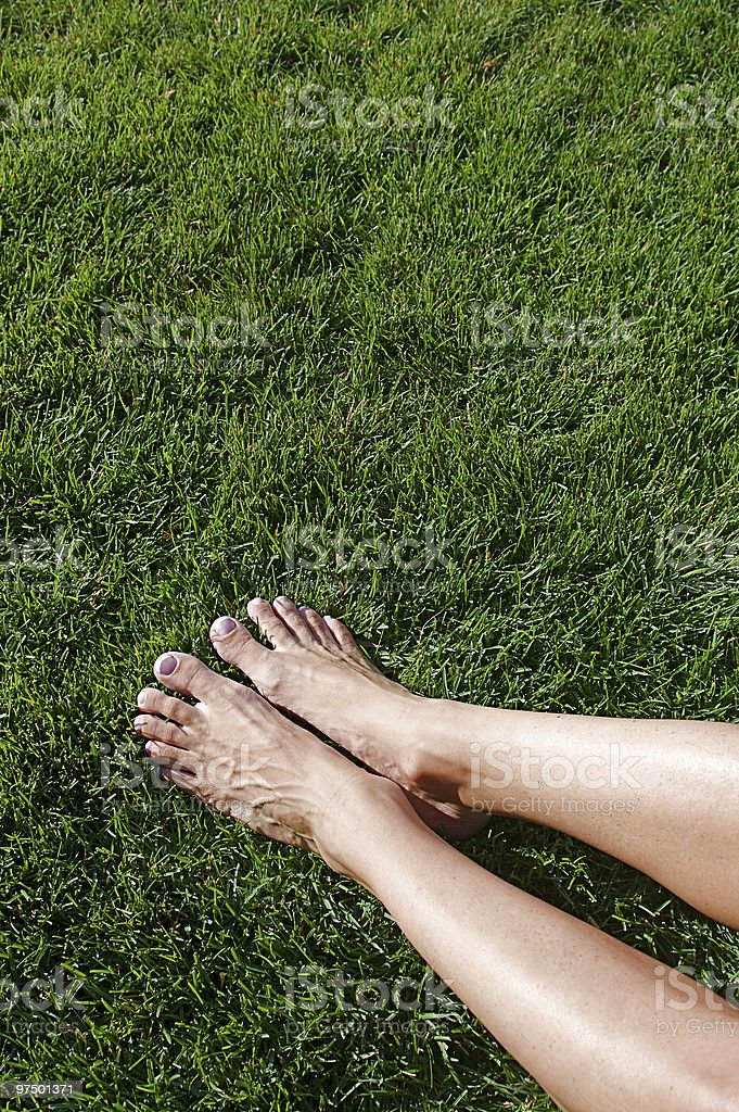 Barefoot in the Grass royalty-free stock photo