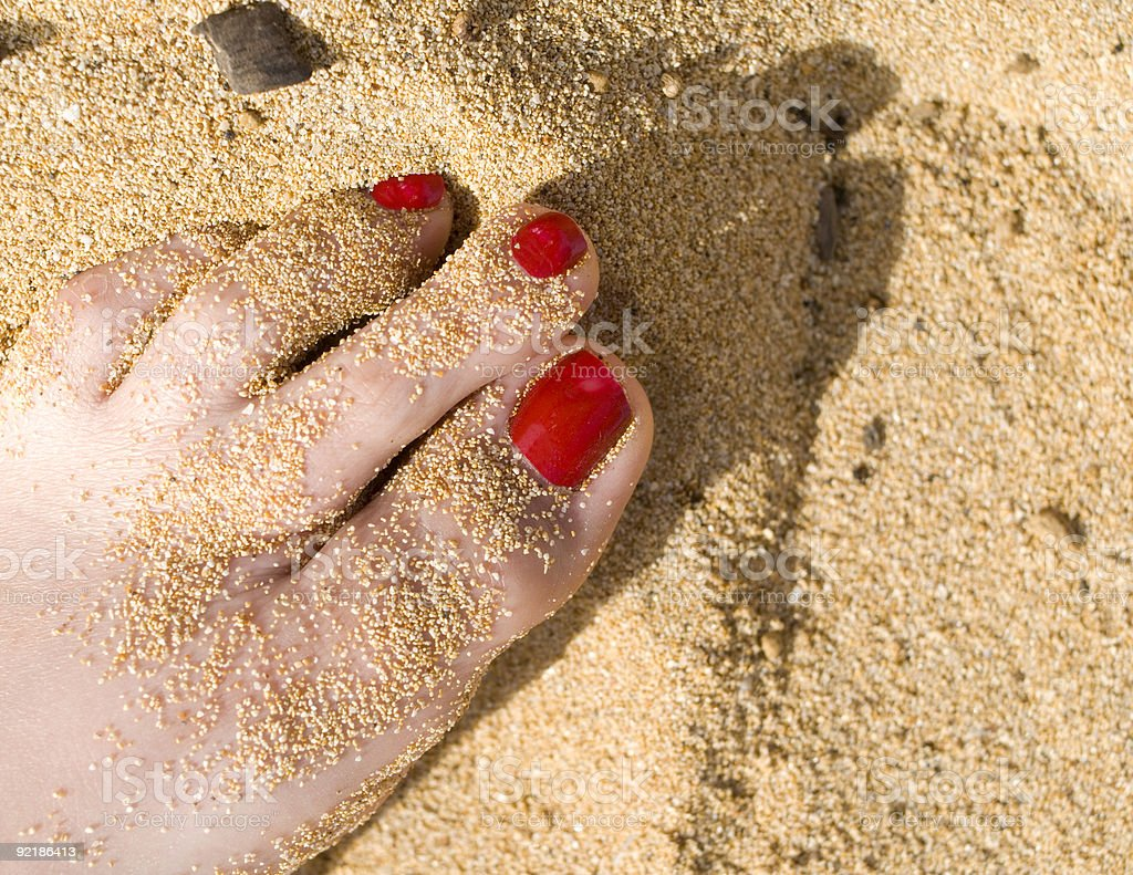 Barefoot in the Sand royalty-free stock photo