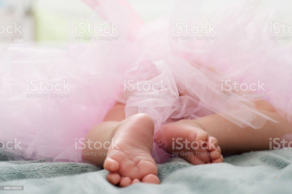 Barefoot of little ballerina stock photo