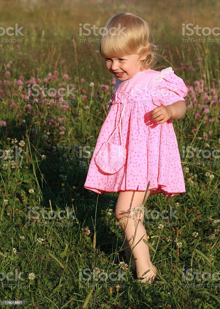 barefoot on a meadow royalty-free stock photo