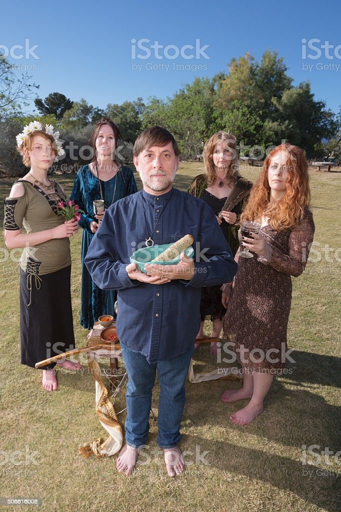 Barefoot Pagans Priest Outdoors stock photo