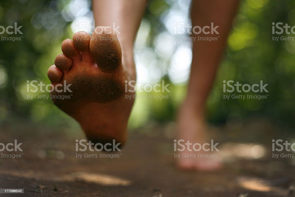 Barefoot Running stock photo