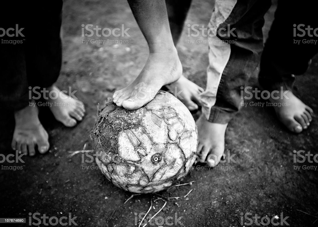 Barefoot Soccer Players stock photo