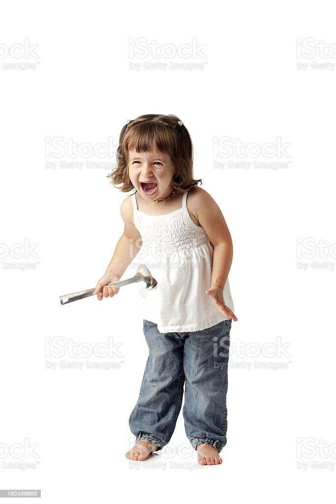 Descalzo Young Girl los gritos. Foto de estudio. foto de stock libre de derechos
