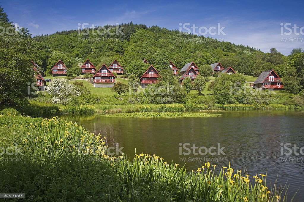 Barend Holiday Village, Loch and Lodges. Irises Foreground stock photo