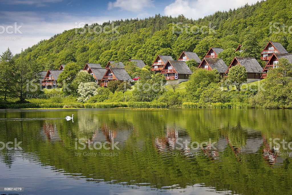Barend Holiday Village, Loch and Lodges. Swan Background stock photo