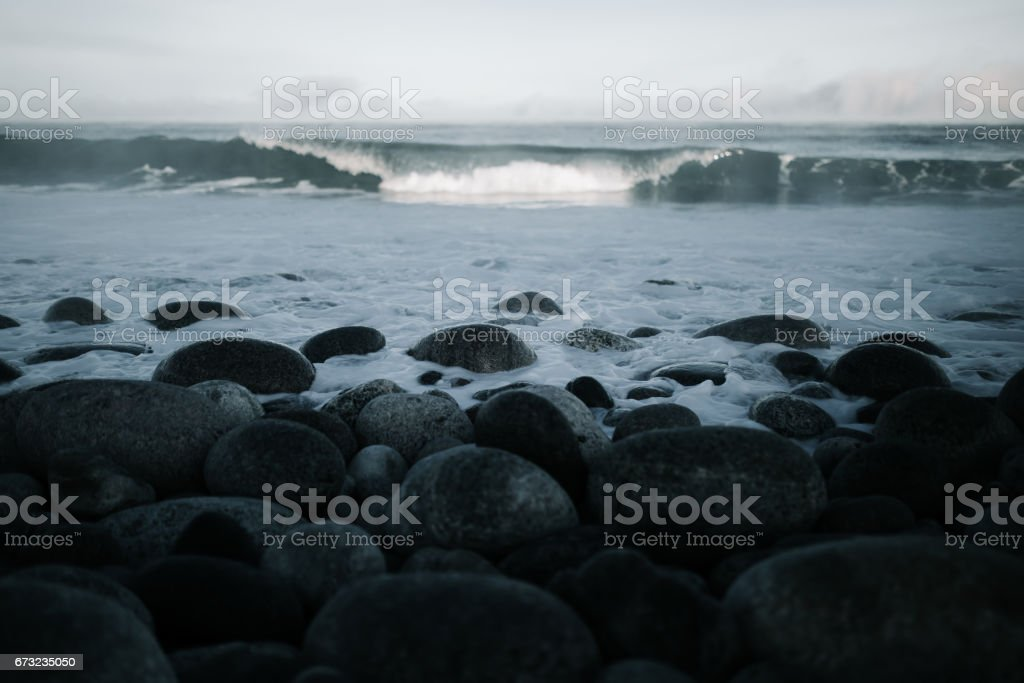 Barents Sea in Arctic Ocean. Kola Peninsula, Russia stock photo