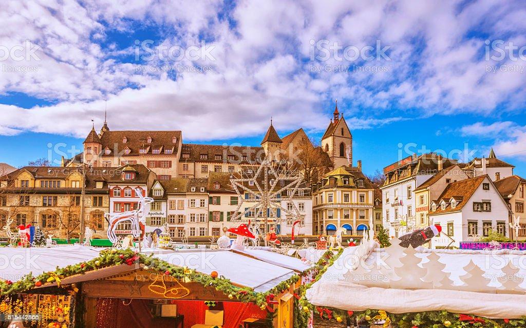 Barfüsserplatz in Basel during Christmas Season stock photo
